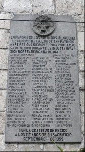 Tablet with the names of soldiers from the San Patricio Battalion, who were hung in San Jacinto Square, Mexico City.