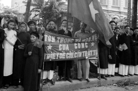 Citizens of Hanoi, Vietnam, at a parade, October, 1954 | Zinn Education Project