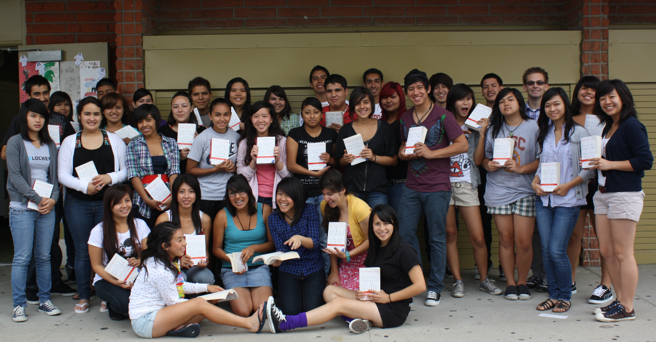 Students and their teacher, Chris Lewis, in El Monte, California with their Teaching Outside the Textbook class set.
