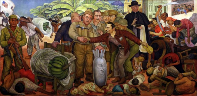 "This painting by Diego Rivera, ""Gloriosa Victoria,"" tells the story of the 1954 overthrow of the democratically elected Jacobo Arbenz gov't. Coup Colonel Carlos Castillo Armas greets secretary of state John Foster Dulles, who holds a bomb with the face of Eisenhower, surrounded by people who were murdered in the coup. To his left is U.S. ambassador John Peurifoy with military officers and CIA director Allen W. Dulles whispering in his brother's ear. On the right, the archbishop of Guatemala, Mariano Rossell Arellano blesses the act, while Guatemalans protest."