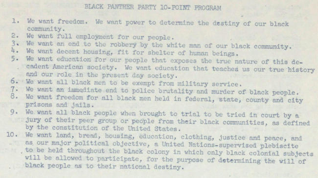 Black Panthers' Ten Point Program | Zinn Education Project: Teaching People's History