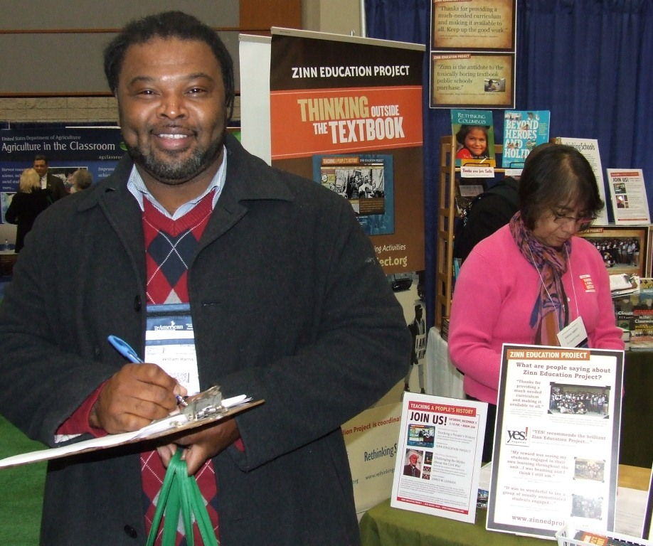 William Harris was one of over a hundred teachers who registered for the Zinn Education Project website at our NCSS booth.