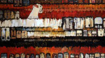 Ishii Shigeo. Decoy (1961). Oil on canvas. 130.8 X 162.2 cm. Nagoya Municipal Museum.