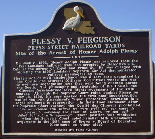 essay on plessy v ferguson Plessy v ferguson (1896) was a historic point sacred law instance of the us supreme court it maintained state racial segregation laws for open offices under the.