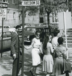 Howard and Roz Zinn at a SNCC demonstration in Boston.