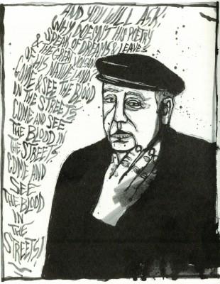 Pablo Neruda (July 12, 1904 – September 23, 1973) portrait by Erik Ruin.