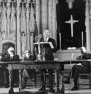 Dr. Martin Luther King at Riverside Church,New York City, April 4, 1967. He was killed one year later.