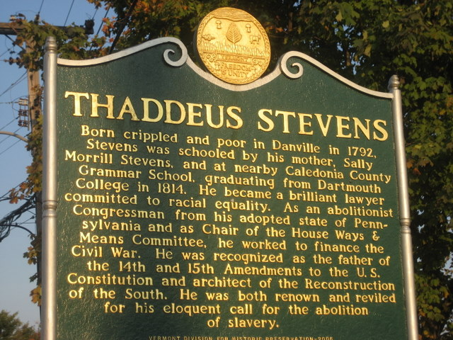 The historical marker in Vermont for Thaddeus Stevens. Photo by The Danville Historical Society — danvillevthistorical.org.