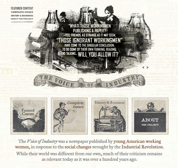 """""""The Voice of Industry"""" website features 142 full issues produced between May 29, 1845-August 3, 1848."""