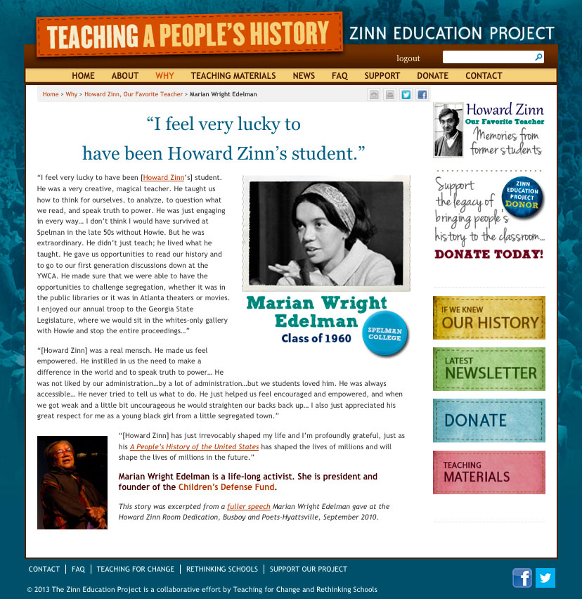 history 17a zinn article Publishing milestone: the sale of one million copies of howard zinn's a people's history of the united states first published in when he and a group of african- american students protested segregation by sitting in a whites-only section at the georgia statehouse, a riot nearly erupted zinn soon became.