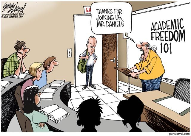 Mitch Daniels and academic freedom cartoon | Zinn Education Project