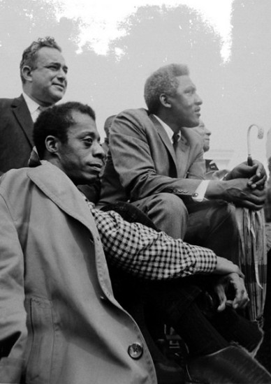 James Baldwin, Bayard Rustin, and (barely visible) A Philip Randolph at the Selma to Montgomery marches; March 24-26, 1965. (c) Stephen Somerstein, Used here with permission. http://somerstein.smugmug.com/