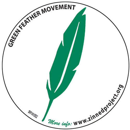 Click to make a donation and receive your own Green Feather Movement button or sticker.