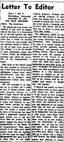 Kennard Letter to Editor, 1959 | Zinn Education Project