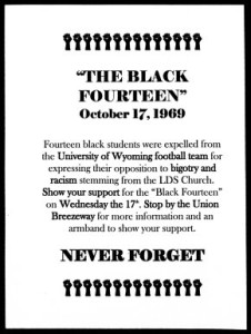 Flyer calling people to wear black armbands to show support of the Black 14. Image: Irene Schubert Black 14 Collection at U-Wyoming.
