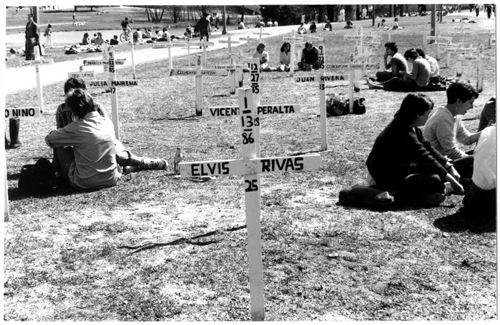 Commemoration of victims of Contra violence. Photo: UMass Library Archives.