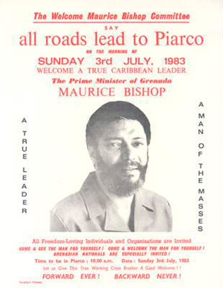 """Welcome Maurice Bishop"" flyer 