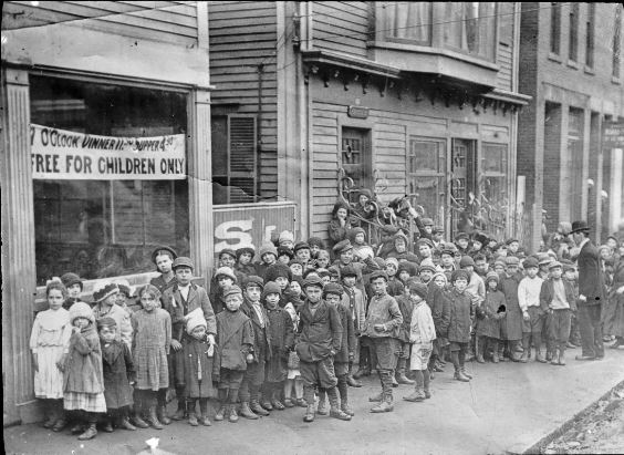 During the strike,  The Franco-Belgian soup kitchen fed over 23,000 workers and their dependents, this from a population of 1,200 Franco-Belgians in the city at the time of the strike. Image from Digital Public Library of America.