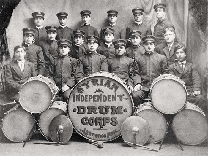 The Syrian Independent Drum Corps was one of many marching bands that played before meetings and in the streets. Photo from Eagle Tribune.