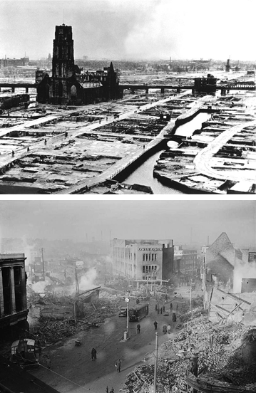 TOP: German bombers set the whole inner city of Rotterdam ablaze, killing 814 of its inhabitants. BOTTOM: Coventry city centre following the Coventry Blitz of November 14 and 15, 1940. Images: Wikimedia Commons.