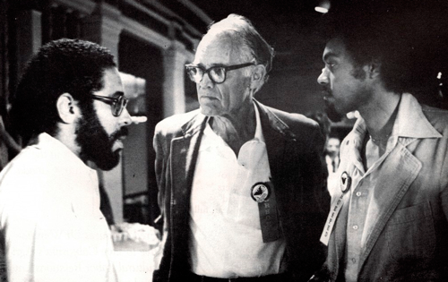 Fred Ross, Sr. with Ken Msemaji and Greg Akili for a United Domestic Workers of America event in San Diego in 1980. Photo: www.fredrosssr.com.