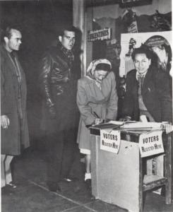 CSO Voter Registration Drive with Deputy Registrar Matt Arguijo in 1948. Photo: www.fredrosssr.com.