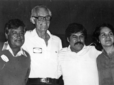 Fred Ross Sr. (second from left) with Cesar Chavez (left), Luis Valdez (second from right) and Dolores Huerta (right), late 1980s. Photo: Walter P. Reuther Library, Wayne State University.