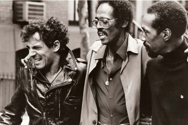 "Bruce Springsteen with David Ruffin and Eddie Kendricks of The Temptations, filming the ""Sun City"" video in 1985."