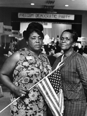 Fannie Lou Hamer and Ella Baker, later in 1964 at a Mississippi Freedom Democratic Party convening. Photo: © Johnson Publishing Company.
