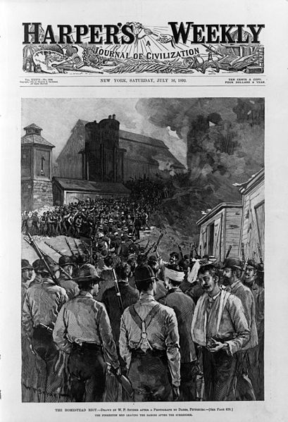 The Pinkerton men leaving the barges after the surrender. Harper's Weekly, July 16,1892. Image: WikiCommons.