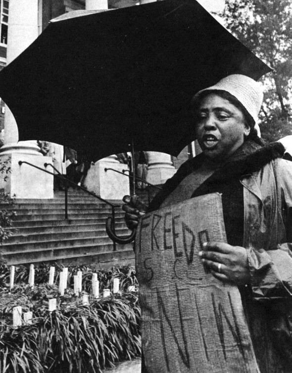 Fannie Lou Hamer picketing on Freedom Day, 1964, in Hattiesburg, Mississippi.