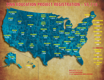 Map of User Registrations as of 12/31/15 | Zinn Education Project: Teaching People's History
