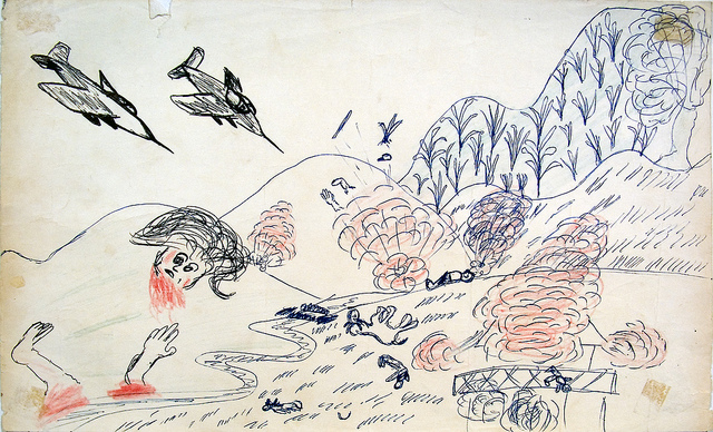 Illustration from Bombing Survivor 1971 Historic drawings of the Vietnam War era secret U.S. bombings in Laos, recovered in 2004 and now featured in the Legacies of War National Traveling Exhibition.
