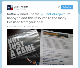 Thankful Tweet from raffle winner Daniel Aguilar.