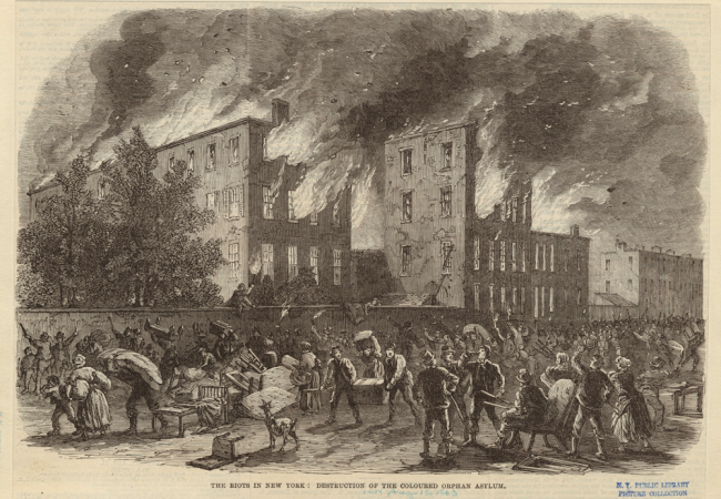 July 13-16, 1863: New York City Draft Riots (This Day in History) - Harper's Weekly illustration of the burning of the orphanage during the Draft Riots | Zinn Education Project: Teaching People's History