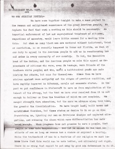 Aug. 13, 1910: Ministers Appeal to President Taft After Slocum Massacre (This Day in History) - Committee letter to President Taft, Page 1 | Zinn Education Project: Teaching People's History
