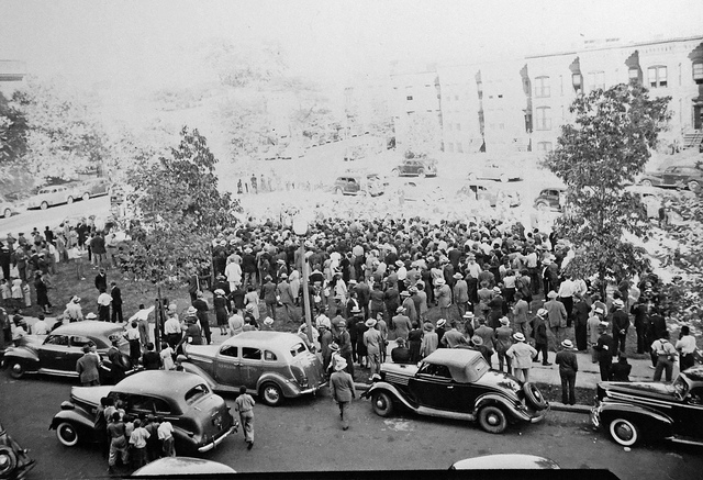 A crowd gathers at 10th & U Street NW on Sunday September 14, 1941 to protest police brutality in Washington, D.C. Image courtesy of the D.C. Public Library Historical Image Collection