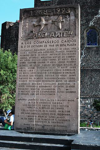 Monument at site of 1968 Mexico City Massacre.