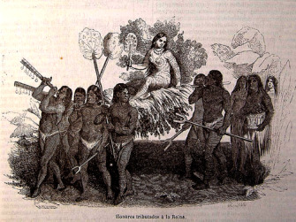 The Taíno Indians regale Queen Anacaona in an engraving of 1851 for the Spanish edition of the book Life and Voyages of Christopher Columbus.