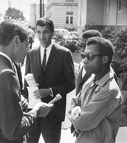 Howard Zinn, James Baldwin, and a journalist on Freedom Day in Selma, Alabama, October, 1963.