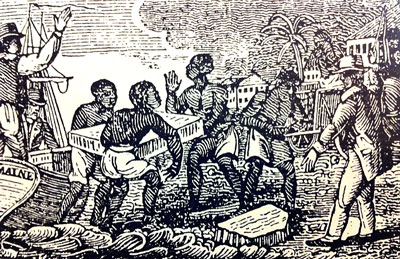 Enslaved people unloading ice in Cuba, 1832. Image: Wikipedia.