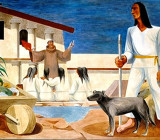 """Controversial mural by Anton Refregier depicting the indians as strong and clergy and Europeans as weak. Read more by Gray Brechin at the Smithsonians, """"Native Themes in New Deal-Era Murals."""""""