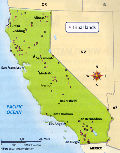 California tribal lands map in textbook | Zinn Education Project