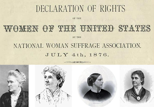 "People's History of Fourth of July: Beyond 1776 - On July 4, 1876, suffragists crash the Centennial Celebration at Independence Hall to present the ""Declaration of the Rights of Women"" 