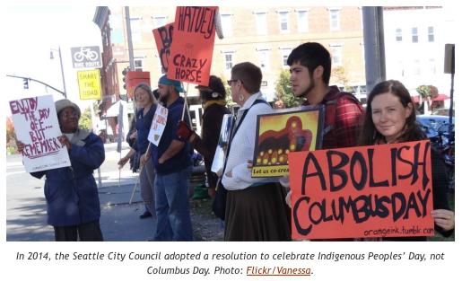 The Seattle City Council adopted a resolution to celebrate Indigenous Peoples' Day, not Columbus Day. Photo: Flickr/Vanessa.