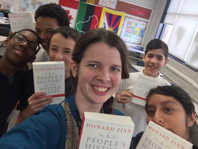 Five Teachers Win Class Set of A People's History of the United States: Christina Hendrix w/ students | Zinn Education Project: Teaching People's History