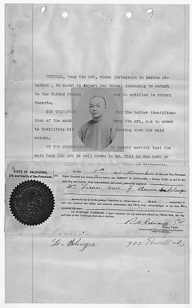Wong Kim Ark: Sworn Statement | Zinn Education Project: Teaching People's History