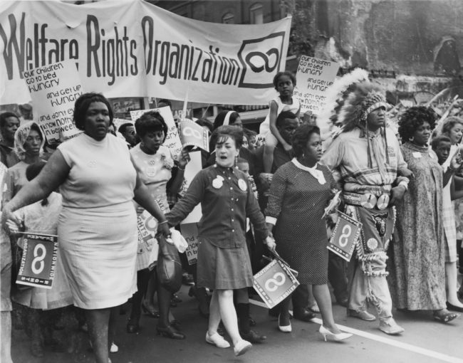 he National Welfare Rights Organization marching at the 1968 Poor People's Campaign.