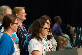 Members of Oregon delegation introducing the resolution at the 2016 NEA National Convention.