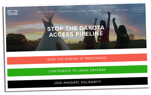 Camp of the Sacred Stones - Stop the Dakota Access Pipeline (Website) | Zinn Education Project: Teaching People's History